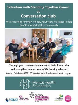 Volunteer with Standing Together Cymru at Conversation Club